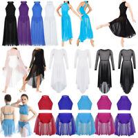 Girls Lyrical Praise Ballet  Dance Dress Leotard High-low Hem Modern Dancewear