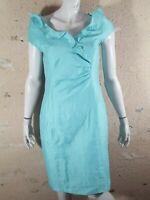 UN JOUR AILLEURS  Taille 42  Superbe robe Lin manches courtes doublée bleu vert