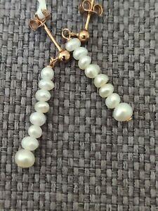 Natural Seed pearl rose gold vermeil solid Sterling 925 Silver drop Earrings