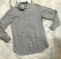 Peter Millar Mens Button Front Long Sleeves Shirt Check Size M Blue Brown
