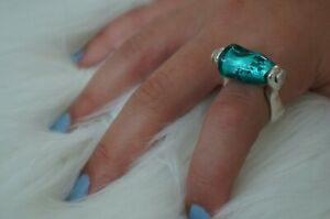NEW Engraved Uno De 50 Turquoise Murano Glass Stamped Silver Statement Ring 7 M
