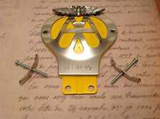 CLASSIC AA CAR BADGE SERIAL NUMBER 6E 967691 CHROME PLATED CLUB COLLECTABLE  BAR