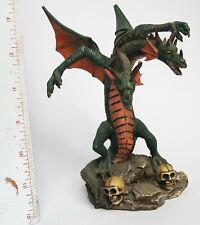 "Two Headed Dragon Figurine on Base with Skulls Polyresin Acrylic 7"" Okay Shape"