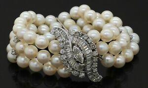 Antique 14K WG 4.77CTW VS diamond 7mm pearl 3-stand bracelet w/ removable brooch