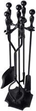 5 Pcs Fireplace Tools Sets Black Handle Wrought Iron Fire Place Tool Set and Hol