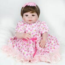 "22""Full Silicone Vinyl Reborn Dolls Newborn Babies Baby Girl Toy Gift Waterproof"