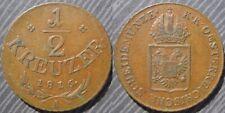 """* AUSTRIA  1/2 kreuzer 1816 """" A """" - Franz I"""