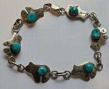 Navajo Sterling Turquoise Bear Bracelet SIGNED RG