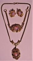 VTG Aurora Borealis Necklace Earrings & Bracelet Demi Parure Set Juliana