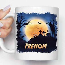 """Mug, Tasse Personnalisé, """"Décor Halloween Cimetière la Nuit"""" + Prénom (MUG080)"""