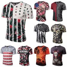 Men 3D Flower Printed T-shirts V-neck Short Sleeve Funny Tee Fashion Casual Tops