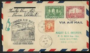 CANADA 1937 First Flight Cover Norite Bay Sask to Prince Albert