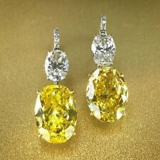 4Ct Oval Canary Yellow Synt. Diamond Tear Drop Earrings Yellow Gold Finsh Silver