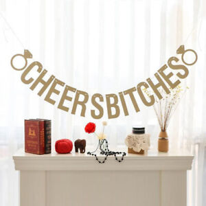 Cheers Bitches Gold Glitter Hen Do Party Bunting Banner Garland Decoration
