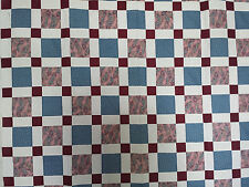Unfinished Quilt Top - Blue & Mauve Blocks w Dark Maroon Corners, approx 55 x 85