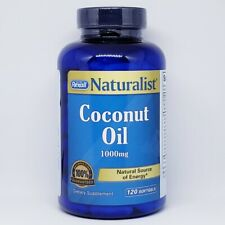 Coconut Oil 120 1000mg Softgels Natural ENERGY - Palmitic, Caprylic Acid 3/21