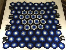 Vtg 48x48 Blue & Black Crocheted Afghan W Fringe Hexagon Shaped Granny Squares