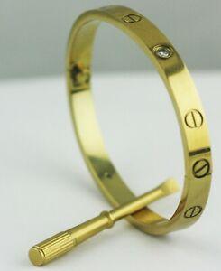 Mens Women Screwdriver Screw Steel Bangle Love Bracelet Silver Gold Black Rose