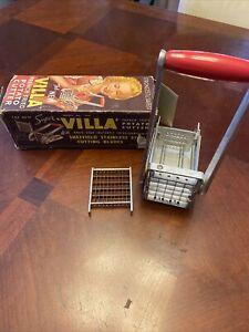 "Vtg Super ""VILLA"" French Fries Potato Cutter w/2 Cutter Heads,Stainless Steel"