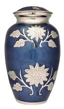 Adult Cremation Urn For Ashes Large Funeral Memorial Ash Container Blue & Silver