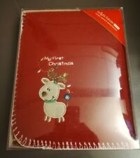"""Baby My First Christmas Holiday Blanket Red Applique Fleece 30"""" x 40"""" Rudolph"""