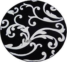 Royal Swirl Weaver  6x6 Area Rug Black & White Actual Size 5'5 x 5'5