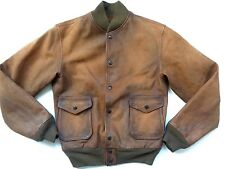 PreOwned Ralph Lauren RRL Worn Tan Brown Leather Reversible Bomber Jacket sz S