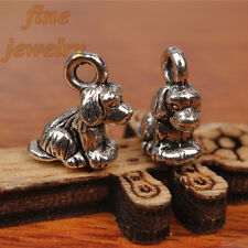 30Pcs 10mm Charms Cute 3D Dog Pendant Tibet Silver DIY connector Spacer 7240