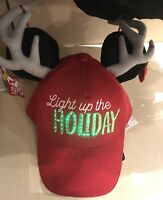 NWT Disney Mickey Mouse Christmas Adult Cap w/ Reindeer Antlers Lights Up