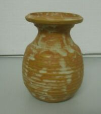 Rustic Art Pottery Vase Artist Signed Liynski with a Fish