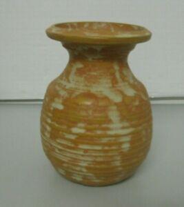 Rustic Art Pottery Vase Artist Signed Liynski with a Fish