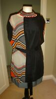 WAREHOUSE Black Grey Mix Geometric Print Belted Tunic/ Dress. 100% Silk Sz UK 12