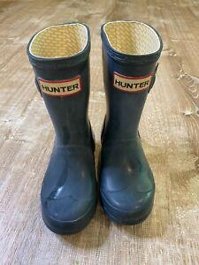 Hunter Navy Blue Boots 10 Toddler Kids tall reflective buckle