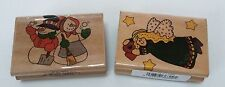Lot Of 2 Christmas Rubber Stamps Patchwork Angel Snowman Couple Westwater