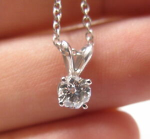 18Kt Round Cut Diamond Solitaire Pendant Necklace AGS .53CT I-VS1 White Gold