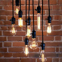 1.2m Industrial Drop Hanging Light Holder Pendant Lamp Wire Cord Bulb Socket USA