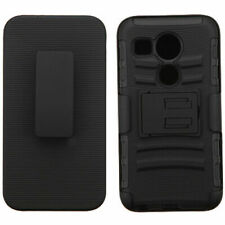 For LG Google Nexus 5X Hybrid Armor Shell Holster Slim Hard Case Cover [BLACK]