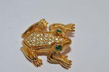 Vtg Goldtone Signed De Nicola FROG Brooch Pin Rhinestones& Green rhinestone eyes