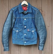 LEVI RED TYPE 4 DENIM LEATHER WOOL BLANKET LINED TRUCKER JACKET Small