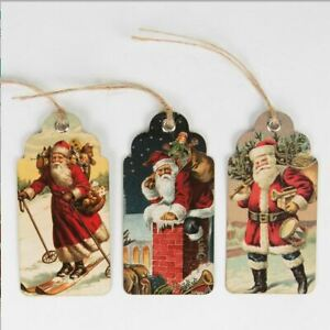 Vintage Christmas Scene Gift Tags | Retro Traditional Santa Clause Wrapping x15