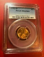 1952-D Lincoln Wheat Cent PCGS MS-65 RD