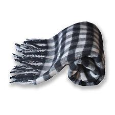 Wool Throw Black Ivory Grey Tartan Wool Blanket 80 x 130 cm + Fringe 8 cm