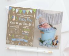 10 Peter Rabbit Personalised Photo New Baby Birth Announcement Thank You Cards