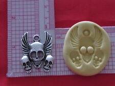Skull with Wings Charm Silicone Push Mold 257 For Resin Candy Cup Cake Fondant