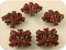 2 Hole Beads Flowers Red X Shape w/Siam Swarovski Crystal Elements Sliders QTY 5