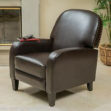 Living Room Brown Leather Nailhead Accent Recliner Club Chair