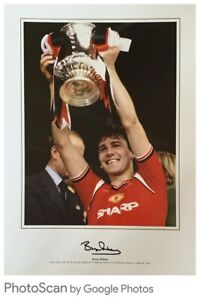 Superb glossy Robson signed Fa Cup photograph Manchester United COA Bid Fr £12