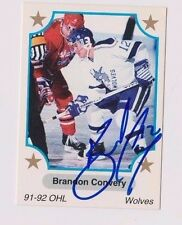 91/92 Brandon Convery Sudbury Wolves Autographed OHL Hockey Card