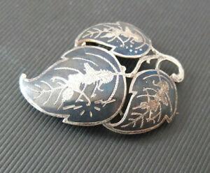 Vintage Siam Silver 925 Brooch & Pendant 3 Leaves With Tänzerinen Top