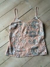 BNWT Lipsy Vintage Style Nude Cami Sequinned Top Size 8 RRP: £35
